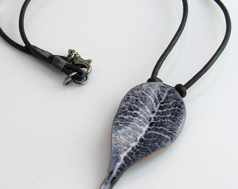 Enameled Leaf Pendant on Leather Choker, Dark Navy Pendant on Black Cord, #1 Larger Leaf, Blue Jean Denim Blue Necklace for Her, Ready to Go