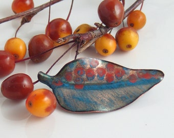 Little Red & Blue Leaf Pin, Enameled Copper Spotted and Striped Jewelry, Lapel Pin or Brooch, Leaf Jewelry, Artisan Made, Nature Inspired