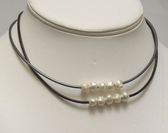 White Druzy Pearls and Leather Choker Necklaces, Five Rose Bud Pearls Row With-Without Knots, WillOaks Studio Drusy Pearl Jewels Collection