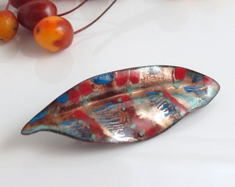 CIJ Red Blue and Copper Striped Enameled Pin, Copper Enameled Brooch, Handmade Metal Leaf with Vitreous Enamel, WillOaks Studio Flora Series