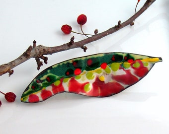 Colorful Copper Enamel Brooch, Art  Lapel Pin, Vitreous Enamel, Handmade Copper, Flora Series, WillOaks Studio Original