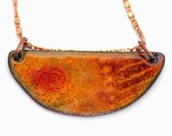 Luminous Copper Enameled Bar Necklace, Enamel Pendant, Glowing Art Jewelry, Original Handmade Vitreous Enamel Necklace, Ready to Ship Gift