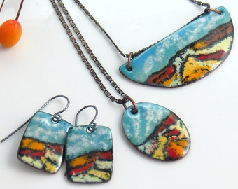 Desert Landscape Jewelry, Colorful Enameled Copper Earrings and Pendants, Deluxe OOAK Art Jewelry by WillOaks Studio, Ready to Mail