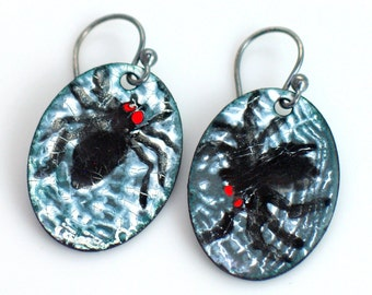 XHalloween Black Spider Jewelry, #3 Dangle Earrings, Spider Web Enamels, Ready to Ship, Original One of a Kind Black Spider, Halloween Party