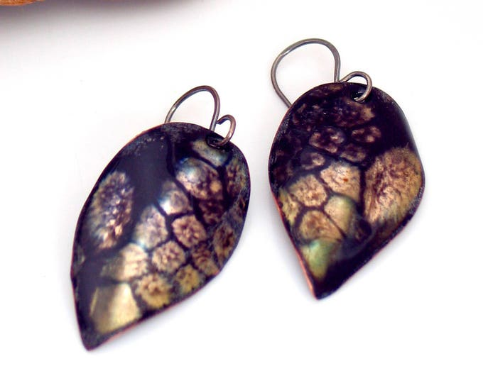 Featured listing image: Black and Gold Leaf Earrings, Inky Blue Black Dangles, Copper Enamel,Vitreous Enamel Leaf Jewelry, OOAK Original Gift for Her, Ready to Mail