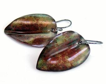 Abstract Enameled Leaf Earrings, Brown and Green Enamel Dangle Earrings, Copper Vitreous Enamel Leaves, OOAK Gift for Her, Ready to Mail