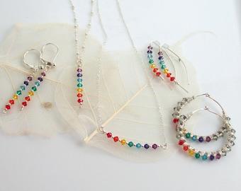 Yoga Chakra Silver Hoop Earrings, Rainbow Hoops, Bright Crystals Sterling Silver Hoops, Yogini Jewelry, Diversity Symbol, Fun Earrings