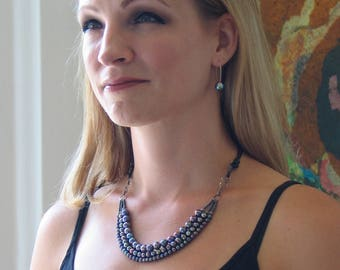 Multi Strand Peacock Pearl and Black Leather Necklace, Modern Dark Pearl Bib, Artisan Original Pearl Jewelry Design, Pearls on Black Leather