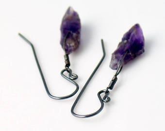 Amethyst Raw Crystal Earrings with Sterling Earwires, Purple Rough Gemstone Dangle Earrings, February Birthstone, Ultraviolet Color