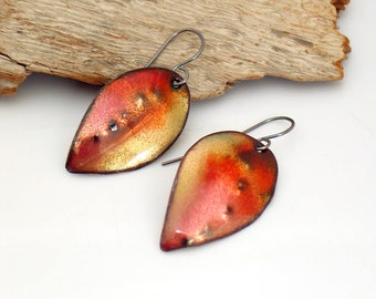 Enameled Art Earrings, Nectarine Colors, Peach & Yellow Vitreous Enamel Copper Leaf Dangles, OOAK Original Art Earrings, Outstanding Gift