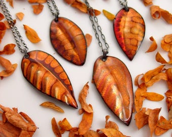 Leaf Pendants in Transparent Golden Enamel, Artisan Made with Vintage Brass Chain, Hot Enamel on Copper