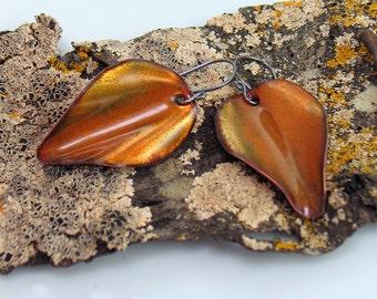 Deep Golden Enameled Leaf Earrings, Artisan OOAK Jewelry in Copper Enamel, Original Gift for Her, Ready to Ship, WillOaks Studio