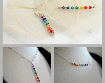 Chakra Bar Necklace, Yoga Pendants, Rainbow Crystals Pendant Necklaces, Yogini Jewelry, Swarovski Elements and Sterling Silver, Layering