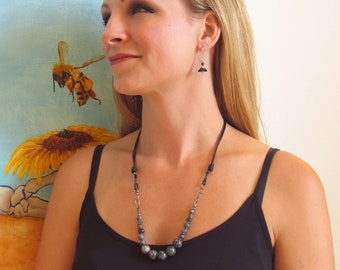 Leather and Bead Adjustable Necklace, Dark Labradorite Statement Bib, Contemporary Artisan Leather & Bead Design, WillOaksStudio Original