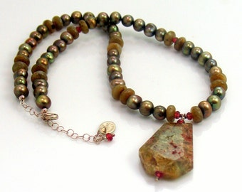 Green Garnet Druzy Pendant on Pearl Choker Necklace, Mixed Semi-precious Gem Artisan Necklace, Rich Olive Green, Gift for Her, Ready to Mail