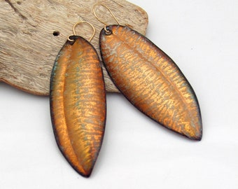 Big Golden Fall Leaf Dangles, Hot Glass Copper Enamel Long Earrings, OOAK Art Earrings, Gorgeous Gift for Her, Ready to Mail, WillOaks