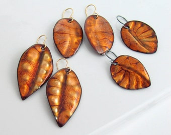 Fall Golden Leaf Earrings, Enamel Art Dangles, Rich Autumn Jewelry, One of a Kind WillOaks Studio Original