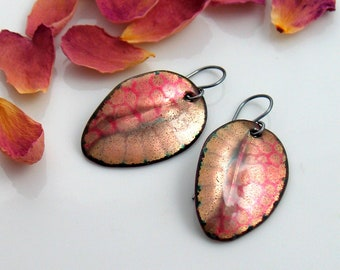 Pink and Gold Enamel Leaf Earrings, Original Design Art Jewelry, Copper Enamel Handmade Dangles, WillOaks Studio, Unique Gift for Her