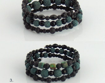 Last One! #3 Lava Stone Cuff Bracelets for Essential Oils, Beaded Memory Wire Bracelets, Rustic Boho, Lava Stone Jewelry