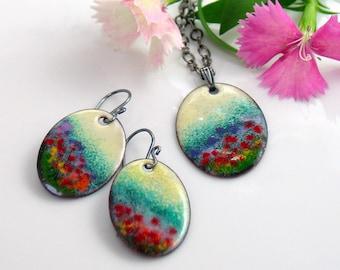 Colorful Jewel Tones Garden Jewelry Set, Flower Meadow Impression, Artisan Original Enameled Set Pendant & Earrings, Vitreous Copper Enamel