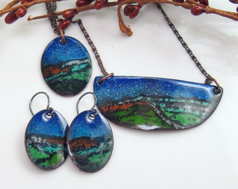 Night Sky Landscape Jewelry Collection, Copper Enameled Pendants & Earrings, Mix Match, Ready to Mail, WillOaks Studio Deluxe Art Jewelry
