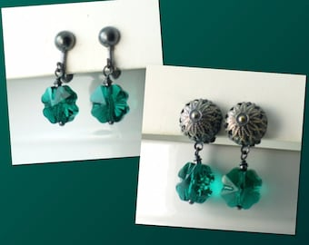 Green Shamrock Swarovski Crystal Clip on Earrings, Four Leaf Clover Drops, Emerald Green Crystal Dangles, St Patricks Day, Irish. Lucky