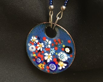 Enameled Copper Art, Enamel Jewelry, Blue Pendant, Flower Garden in White and Blue, Kiln Fired Glass Enamel on Handmade Metal Pendant, gift