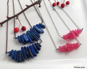 Pink Sapphire or Lapis Lazuli Raw Stones, Natural Pink or Blue Pendant, Gemstone Pendant, WillOaks Stacked Stones Series, Unique Gift