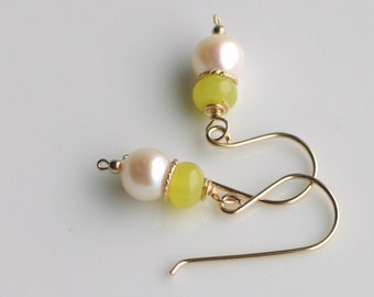 Chartreuse and White Drop Pearl Earrings, Gold Filled White Freshwater Pearl Dangle Earrings, Pearl Classics