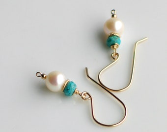 Pearl & Turquoise Earrings, Handmade Drop Pearl Earrings with Faceted Stones in Sterling or Gold-filled, Stocking Stuffer, Gift for Her