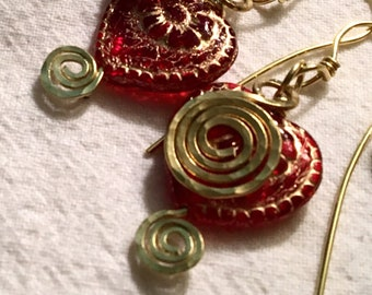 Red Czech Glass Heart Dangles, Valentine Heart Fun Earrings, Hand-formed Brass Spiral Peek-a-boo Heart, Unique Gift Ready to Mail