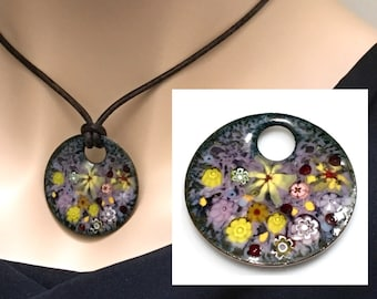 Copper Enameled Art Pendant, Impressionist Pastel Flower Garden, Kiln Fired Vitreous Enamel, Ready to Mail, Beautiful Gift for Her