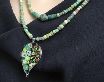 Unique Colorful Leaf-shaped Copper Enameled Pendant, Handmade Shades of Nature Necklace, Beaded Layered, Artisan Enamel Jewelry, Ship Ready