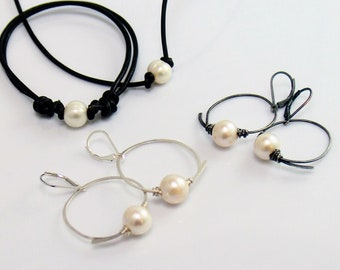 Large Pearl Sterling Hoop Dangles, Freshwater Pearl Earrings, Hand Forged Flourish Hoops, Perfect for Leather & Pearl Choker Bracelet