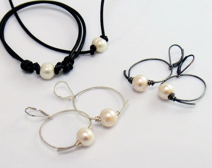 Featured listing image: Large Pearl Sterling Hoop Dangles, Freshwater Pearl Earrings, Hand Forged Flourish Hoops, Perfect for Leather & Pearl Choker Bracelet