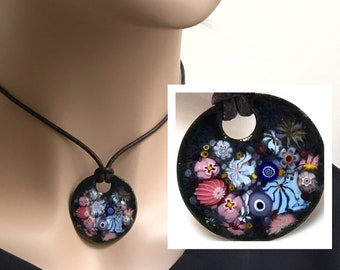Copper Enameled Flower Art Pendant, Joyful Impressionist Garden in Pink and Blue, Kiln Fired Glass Enamel on Handmade Metal Pendant