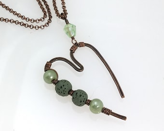 "Essential Oil Diffuser Copper & Green Pendant, Forged Artisan Copper Heart with Lava Stone, Vintage Green Glass Beads, ""Open Heart Series"""