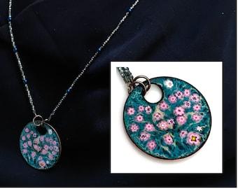 Enameled Pendant, OOAK Art Jewelry, Copper Enamel, Pink Flowers on Dark Teal, Long Beaded Chain, Bright Garden, Kiln Fired Vitreous Enamel