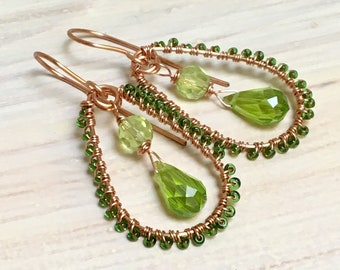 Peridot Green Crystal & Glass Chandelier Earrings with Copper, Hippie Dangles for August Birthday, Ornate Artisan Earrings, WillOaksStudio