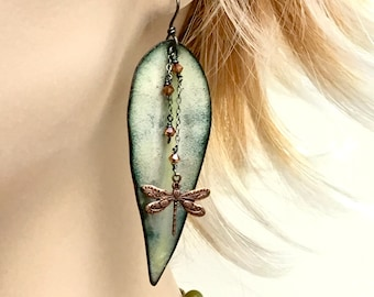 Pale Green Statement Earrings, Long Leaf Dangles, Dragonfly, Copper Enamel Art Jewelry, Artisan Earrings, Vitreous Enamels, Gift for Her