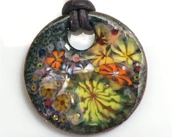 Bright Flower Enamel Pendant, Warm Colors Yellow & Orange, Impressionist Jungle, Kiln Fired Enamels, Handmade Copper Art Pendant, Gift