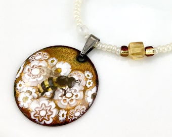 Honey Bee OOAK Art Pendant, Reversible White & Golden Hand Enameled Long Beaded Necklace, WillOaksStudio Series, Ready to Ship Gift For Her