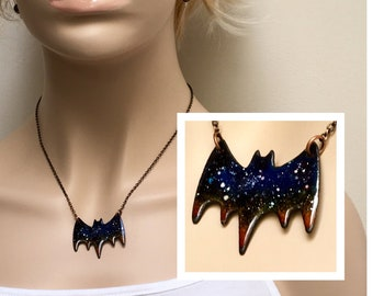Bat Necklace, Flying Bat Pendant, Starry Twilight Sky, Celestial Jewelry, Ready to Ship, Goth Gift, Halloween Unisex Copper Enamel Necklace