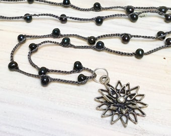 Black Pearl Crocheted Long Silk Chain with 3-D Metalwork Flower, Dark Silk with Black Pearls, Flower Pendant on Silk Handmade Chain
