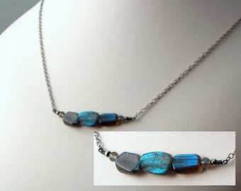 Labradorite Nugget Necklace, Bar Pendant with Natural Gemstones and Oxidized Sterling Silver, Stacked Stones Series, Original Artisan Design