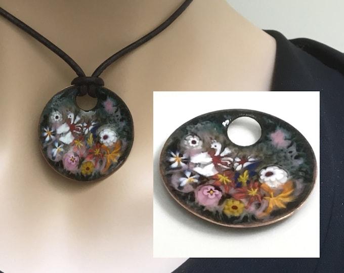 Featured listing image: Handmade Copper Enamel Art Pendant, Impressionist Garden, Bright Joyful Colors, Hot Glass Enamel on Copper Jewelry, Gift for Her, OOAK