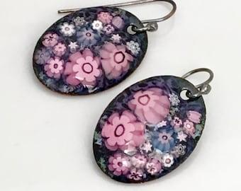 Enameled Earrings, Enamel Jewelry, Pink & Purple Dangle Earrings, Artisan OOAK Design, Floral Earrings, Vitreous Enamel, Ready to Mail Gift
