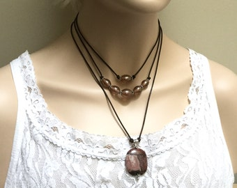 Multi Strand Layered Leather Necklace, Necklace Set, Jasper Pendant and Luster Glass Choker, Leather Jewelry