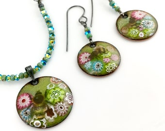 Enameled Garden and Bees Necklace and Earring Set, Handmade Original Art Jewelry, One of a Kind Nature Inspired Gift for Her, Ready to Mail