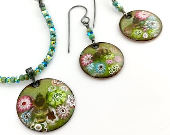 Bees In Enameled Garden Necklace and Earring Set, Handmade Original Art Jewelry, One of a Kind Nature Inspired Gift for Her, Ready to Mail